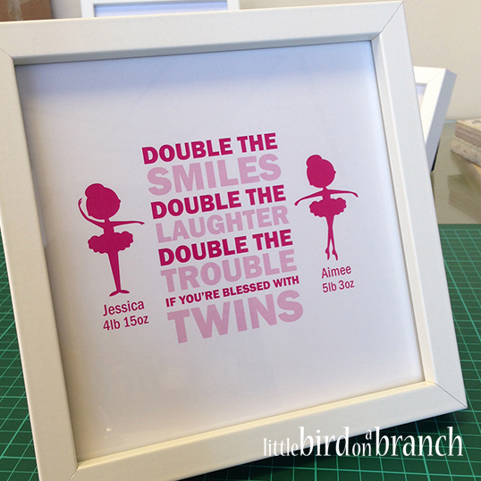 Twin baby girls framed print, ballerina, double trouble