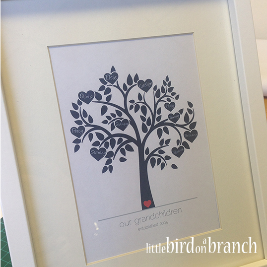 Grandparents family tree framed print