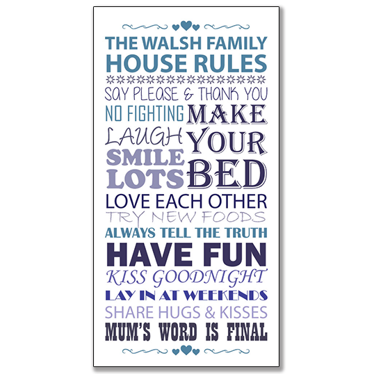 Family house rules framed print | title