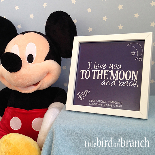 New baby framed print, new arrival, I love you to the moon and back