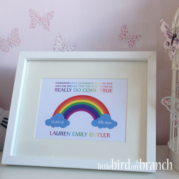 New baby framed print, new arrival, rainbow baby