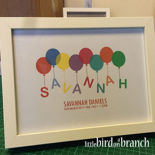 New baby framed print, balloons, personalised name print, new arrival