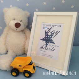 New baby boy framed print, new arrival