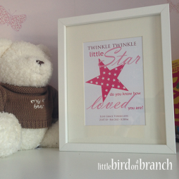 New baby girl framed print, new arrival