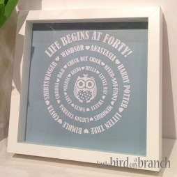 40th Birthday framed print, life begins at forty