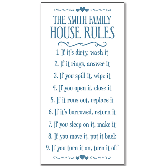 House rules framed print | title