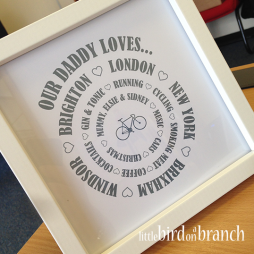 Father's Day framed print, Our daddy loves...