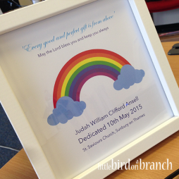 Dedication framed print, Christening print, rainbow print