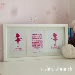 Twin girls baby framed print, ballerina