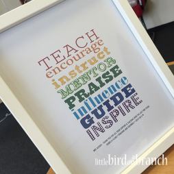 Thank you teacher framed print