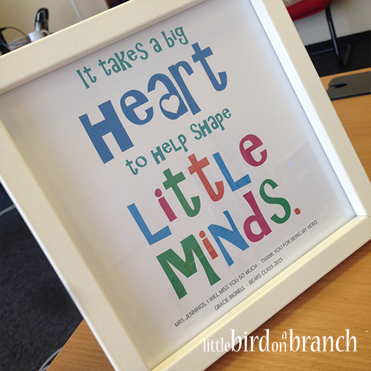 It takes a big heart to help shape little minds framed print, teaching assistant thank you