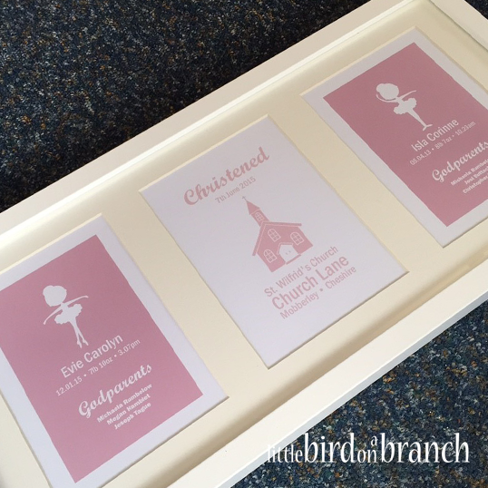 Christening framed print, twins, sisters, baby girls