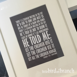 Lyrics framed print